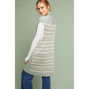 New Anthropologie Striped Knit Vest BLUE O/S